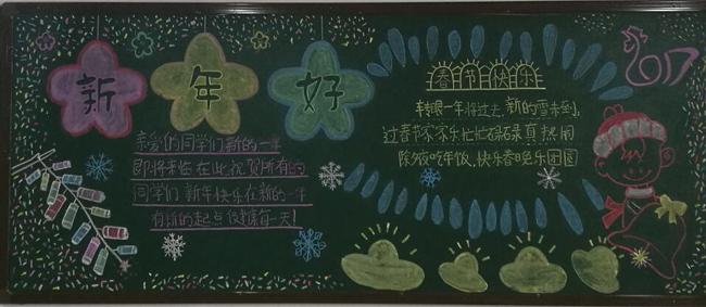 板报内容丰富,有新年的祝福,新年的来历,还有的写下了新年的梦想.
